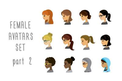 Set of 12 female profile avatars