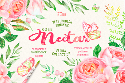 Watercolor Flower Clipart - Rose Nectar