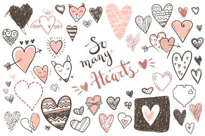 Vector doodle hearts, set