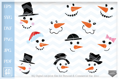 Snowman Svg - Snowman Faces SVG - Christmas SVG - Snow SVG - Xmas svg - Cutting File - Winter clipart - Svg - Dxf - Eps - Png - Jpg - Pdf