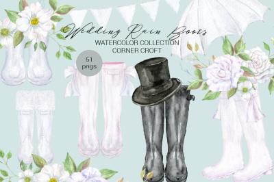 Watercolor Wedding Rain Boots