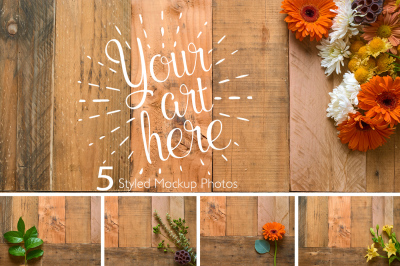 Rustic Flower Photo Set On Pallet Wood