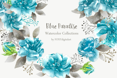 rose clipart watercolor blue floral wedding