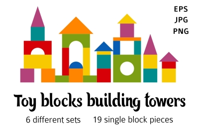 Toy blocks flat building towers