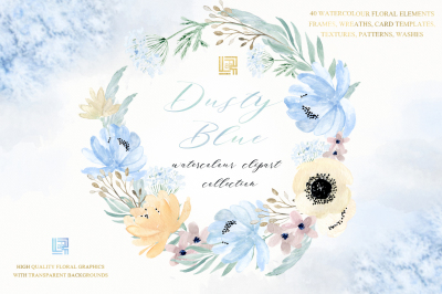 Dusty blue and gold watercolour flowers Digital clipart hand drawn. Soft blue , grey and cream colors.