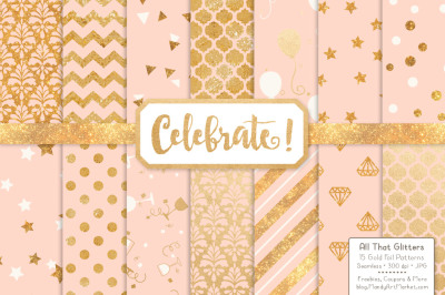 Celebrate Gold Glitter Digital Papers in Peach
