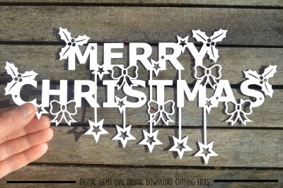 Merry Christmas paper cut SVG / DXF / EPS Files
