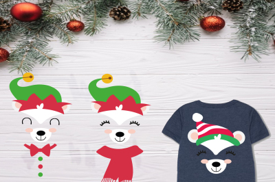 Polar Bear face svg Bear Family, Elf Family SVG, Papa and Mama elf, Baby elf, grandma elf, sister Elf Svg, brother elf, Christmas clipart