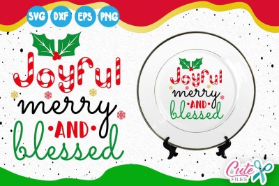 Christmas SVG, Blessed Svg, Merry Blessed Svg, Joyful Snowflake Svg File, Cutting Files, Winter Svg, Silhouette Cameo