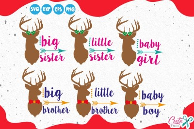 Christmas reindeer family mini bundle, deer svg, brothers