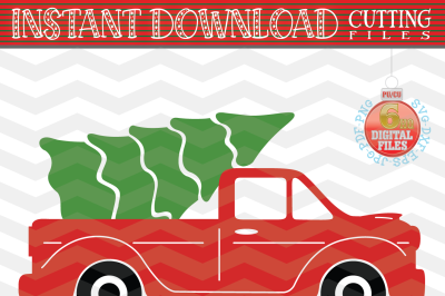 Christmas truck - Christmas truck with tree svg - Christmas tree svg - Xmas truck svg - Cutting File - Svg - Dxf - Eps - Png - Jpg - Pdf