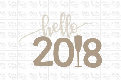Hello 2018 Script - Cutting File in SVG, EPS, PNG and JPEG for Cricut & Silhouette
