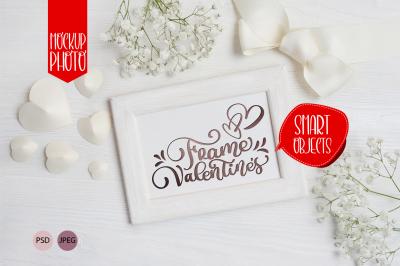 Valentines wooden frame valentine mock up