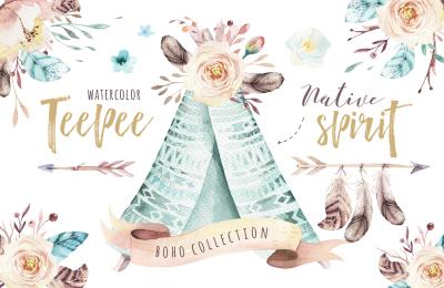 Native spirit. Watercolor collection