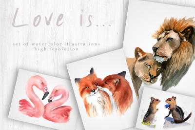 Watercolor Clipart - Animals in Love