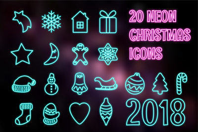 Neon CHRISTMAS icon set.