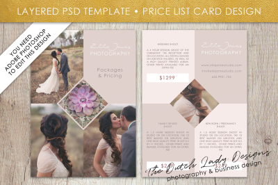 PSD Photo Price Guide Card Template #7