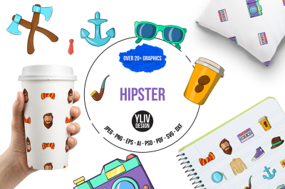 Hipster illustrations and graphics