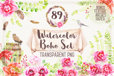 Watercolor Boho Set & Patterns