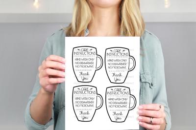 Mug Care Instructions Printable PDF File