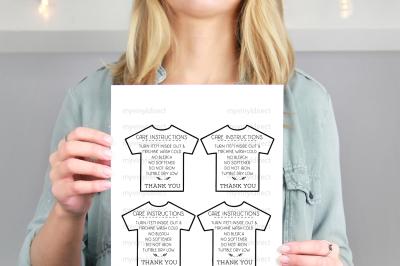 TShirt Care Instructions Printable PDF File