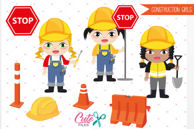 Construction Clipart, Girl Clipart, Construction Girls Clipart, Kids Clipart, Party clipart, png