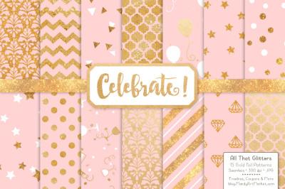 Celebrate Gold Glitter Digital Papers in Soft Pink