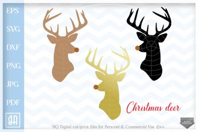 Reeindeer Svg - Reindeer Cut Files - Rudolph Svg - Christmas reindeer SVG - Deer Head SVG - Deer Svg - Christmas SVG - Cutting Files