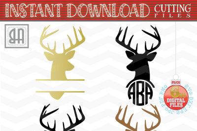 Deer Monogram Svg - Reindeer Monogram Svg - Reindeer Cut Files - christmas reindeer SVG - Christmas SVG - Xmas svg- Cutting File - Deer Svg