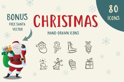 80 Hand-Drawn Christmas Icons