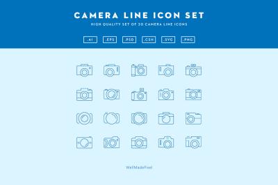 Camera Line Icon Set