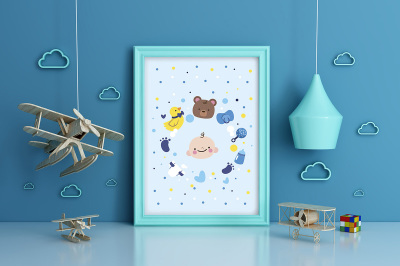Kids Room Frame/poster Mockup airplane