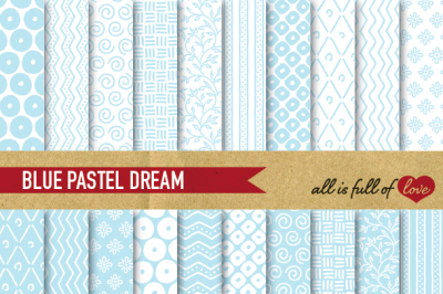 Hand draw Pale Blue Digital Paper Pack: Dream Collection