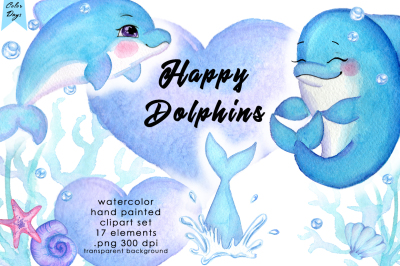 Watercolor Clipart - Happy Dolphins