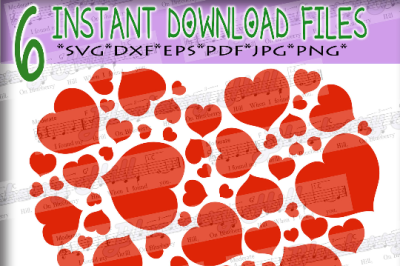 Love  hearts svg - Valentine Svg - Valentine hearts SVG - hearts SVG file -Silhouette Cut Files - DIY - Svg - Dxf - Eps - Png - Jpg - Pdf
