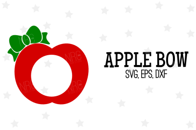 Apple Bow Frame SVG, Cut File