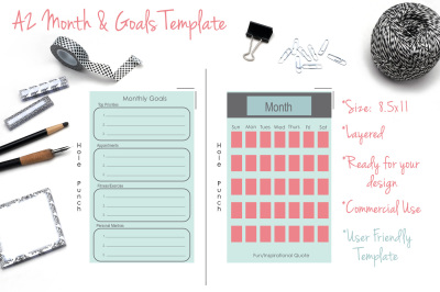 A2 Month & Goals Calendar Template