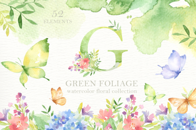 Green Foliage Watercolor Clipart