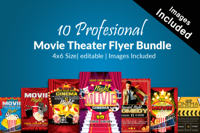10 Movie Theater Flyer Bundle