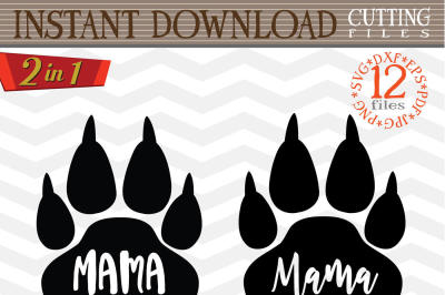Mama bear paw svg - Mama bear SVG digital - Mama Bear with Arrow - mama bear print - Mama SVG file - DIY- Svg - Dxf- Eps - Png - Jpg - Pdf