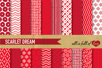 Hand draw Red Digital Paper Pack Digital Background Dream Collection