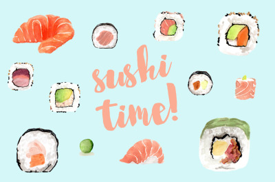 Sushi Time! watercolor illustrations
