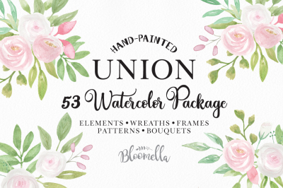 Union Huge Watercolor Package Pink White Flowers Wedding Frames Wreaths Patterns Clipart
