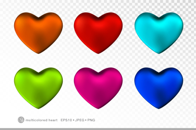 Multicolored hearts set