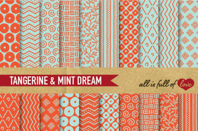 Hand draw Orange Mint Digital Paper Pack: Dream Collection