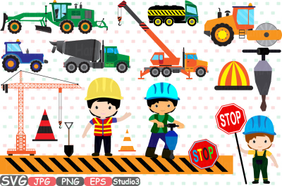 Construction Machines Silhouette SVG Cutting Files Digital Clip Art Graphic Studio3 cricut cuttable Die Cut Machines builders WORK school Clipart illustration Digital eps png jpg Clip Art Vector -256s