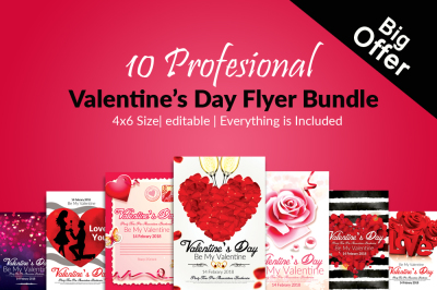 10 Valentines Day Flyer Bundle