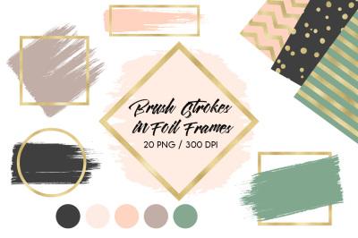 Brush strokes in gold foil frames