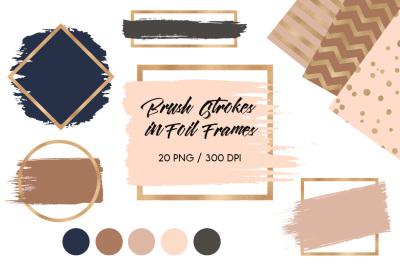 Brush strokes in brown gold foil frames
