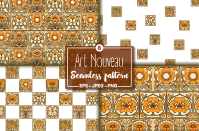 8 Seamless pattern in the art nouveau style